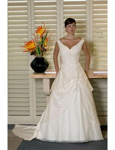 A-line/Princess V-neck Chapel Train Satin wedding dress for brides new style(WDA0133)