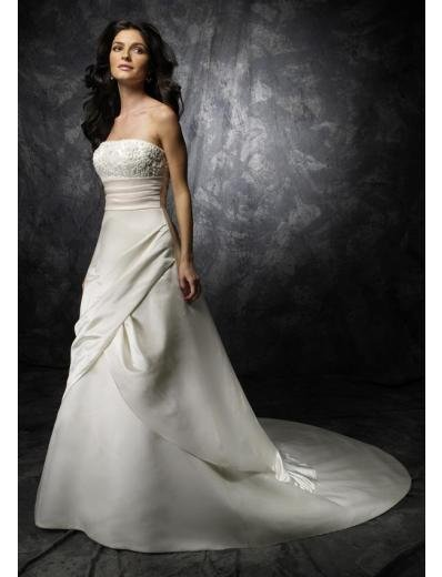 A-Line/Princess Strapless Chapel Train Satin wedding dress for brides new style(WDA1775)
