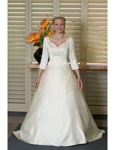 A-line/Princess V-neck Chapel Train Satin wedding dress for brides new style(WDA0132)