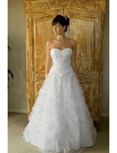A-line/Princess Strapless Chapel Train organza wedding dress for brides new style(WDA0131)
