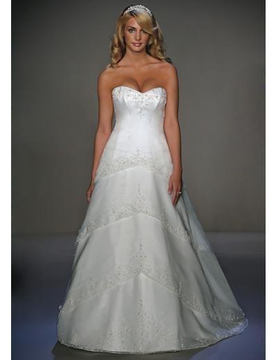 A-Line/Princess Sweetheart Chapel train organza wedding dress for brides new style(WDA0713)