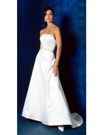 A-Line/Princess Strapless Chapel train Satin wedding dress (SEW0709)
