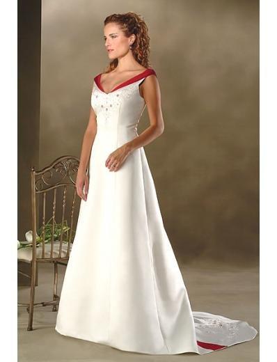 A-Line/Princess V-Neck Chapel Train Satin wedding dress for brides new style(WDA0020)