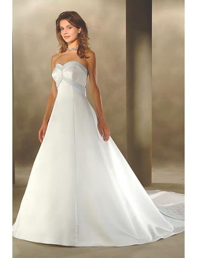 A-Line/Princess Strapless Chapel Train Satin wedding dress for brides new style(WDA0013)