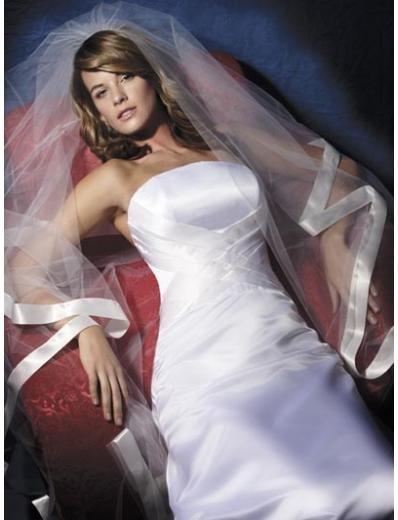 A-Line/Princess Strapless Chapel train Satin wedding dress (SEW0828)