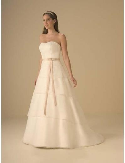 A-Line/Princess Strapless Chapel Train Chiffon wedding dress for brides new style(WDA0333)