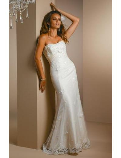 A-Line/Princess Strapless Sweeping train Lace wedding dress for brides new style(WDA1414)