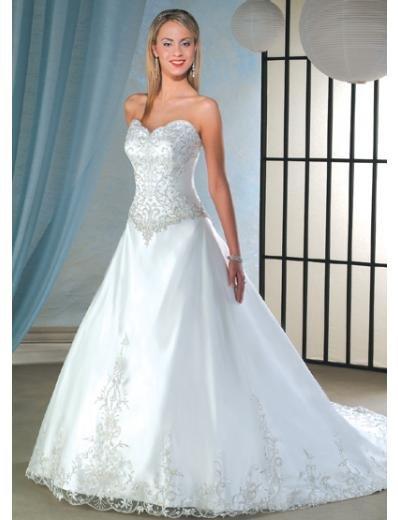 A-Line/Princess Sweetheart Chapel train Satin wedding dress for brides new Style(WDA0056)