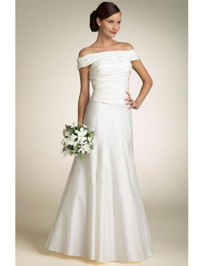 A-line/Princess off-The-shoulder Floor Length Satin wedding dress(SEW0660)