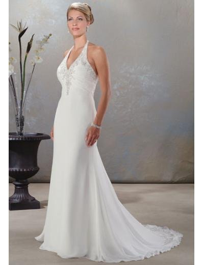 A-Line/Princess Halter Top Chapel train Chiffon wedding dress for brides new Style(WDA0055)