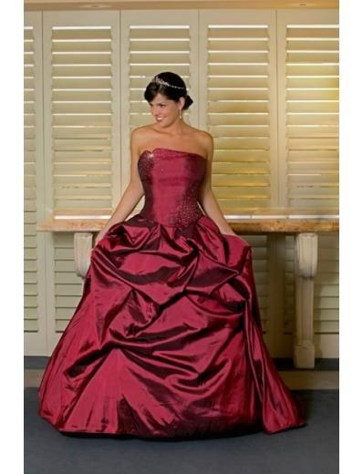 A-line/Princess Strapless Chapel Train Taffeta wedding dress for brides new style(WDA0163)