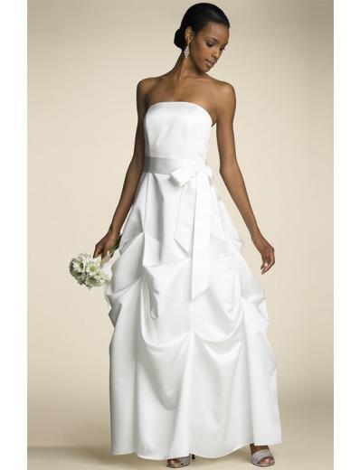 A-line/Princess Strapless Tea-length Satin wedding dress for brides new style(WDA0663)