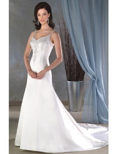 A-Line/Princess Spaghetti Straps Chapel train Satin wedding dress for brides new Style(WDA0059)