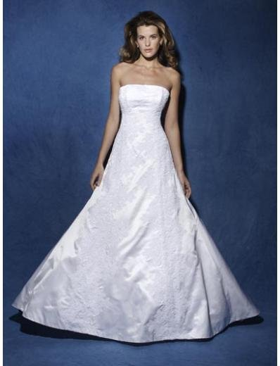 A-Line/Princess Strapless Chapel train Taffeta wedding dress for brides new Style(WDA0826)