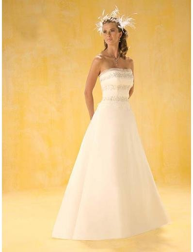 A-Line/Princess Strapless Chapel Train Satin wedding dress for brides new style(WDA0338)