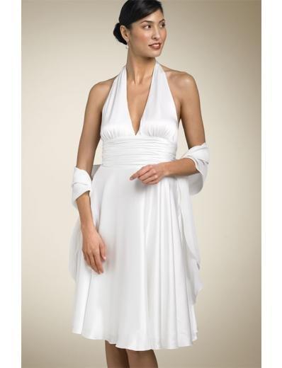 A-line/Princess Halter Top Knee-Length Satin wedding dress (SEW0668)