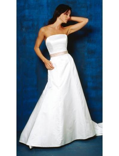 A-Line/Princess Strapless Chapel train Satin wedding dress for brides new Style(WDA0824)