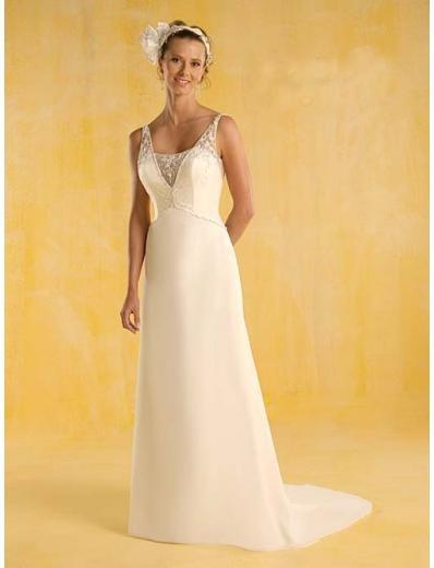 A-Line/Princess V-neck brush train Chiffon wedding dress (SEW0335)