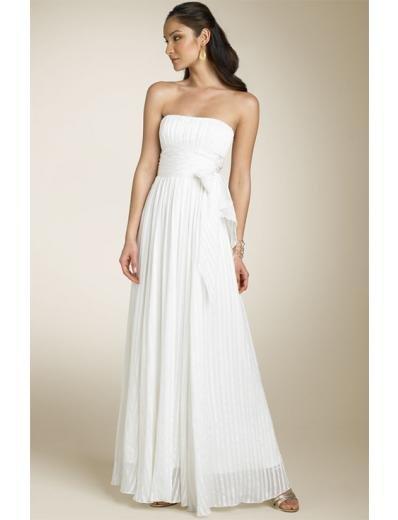 A-line/Princess Strapless Floor Length Chiffon wedding dress for brides new style(WDA0665)