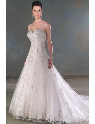 A-Line/Princess Sweetheart Chapel train Satin Lace wedding dress for brides new Style(WDA0060)