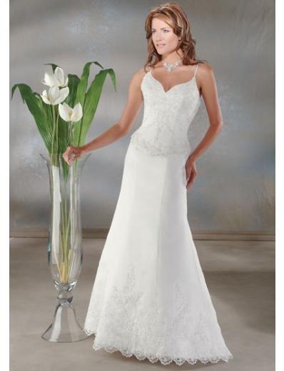 A-Line/Princess spaghetti straps Chapel train Satin wedding dress for brides new Style(WDA0051)