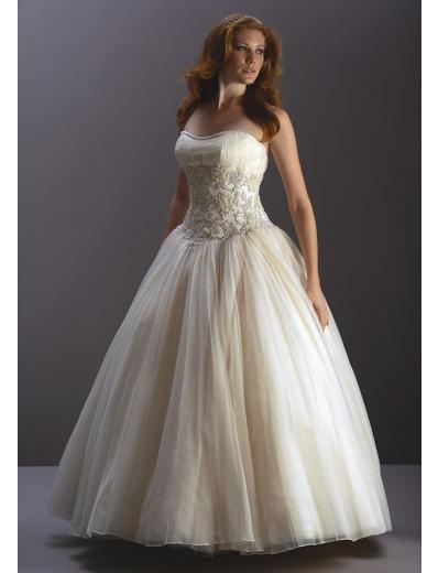 A-Line/Princess Strapless Sweeping train organza wedding dress for brides new style(WDA1213)