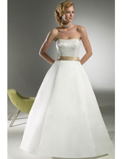 A-Line/Princess Strapless Chapel Train Satin wedding dress for brides new style(WDA1807)