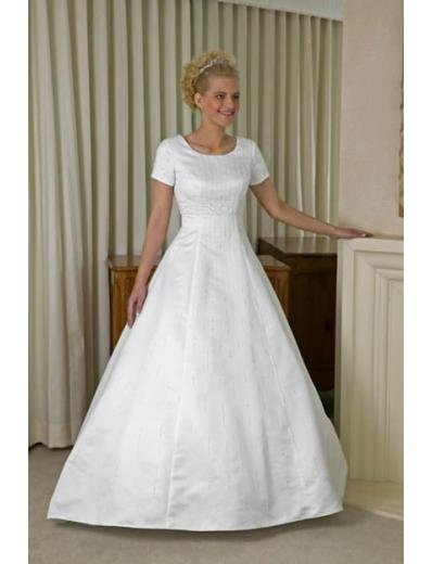 A-line/Princess Scoop Chapel Train Satin wedding dress for brides new style(WDA0154)