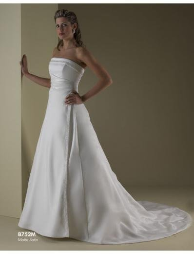A-Line/Princess Strapless Chapel Train Satin wedding dress for brides new style(WDA1804)