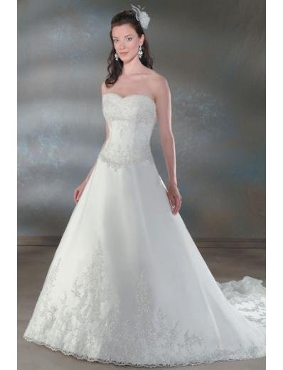 A-Line/Princess Strapless Chapel train organza wedding dress for brides new Style(WDA0041 )