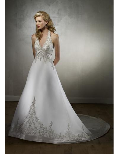 A-Line/Princess deep V-neck Halter Top Chapel Train Satin wedding dress for brides(WDA1725)