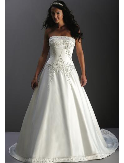 A-Line/Princess Strapless Chapel Train Satin wedding dress for brides new Style(WDA1723)