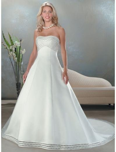 A-Line/Princess Strapless Chapel train Satin wedding dress for brides new Style(WDA0042)