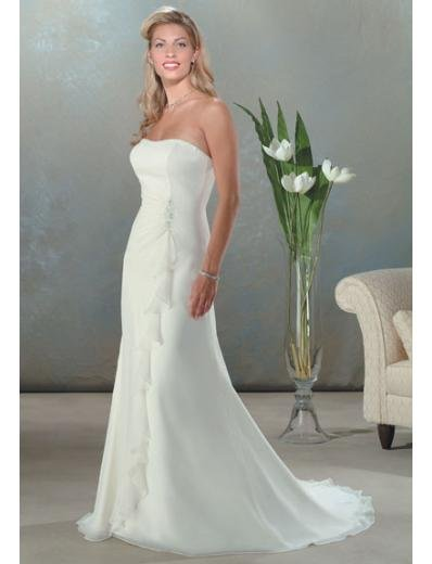 A-Line/Princess Strapless Chapel train Chiffon wedding dress for brides new Style(WDA0049)