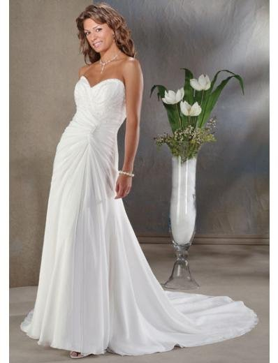 A-Line/Princess Sweetheart Chapel train Chiffon wedding dress for brides new Style(WDA0046)