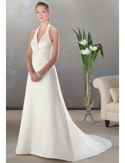 A-Line/Princess Halter Top Chapel train Satin wedding dress (SEW0045)