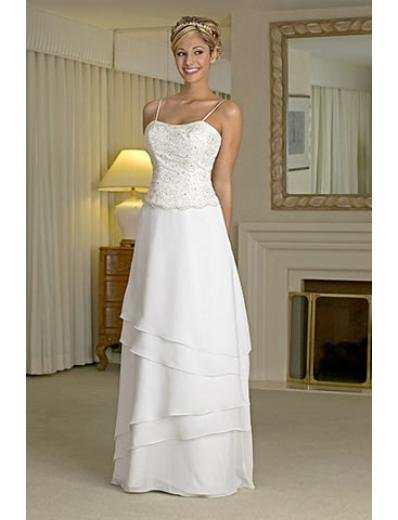 A-line/Princess Spaghetti Straps Floor- Length Chiffon wedding dress for brides new style(WDA0158)