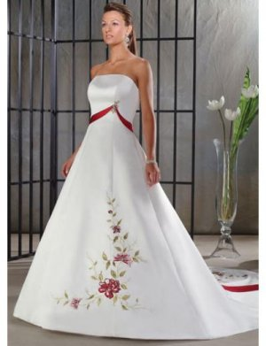 A-Line/Princess Strapless Chapel train Satin wedding dress for brides new Style(WDA0044 )