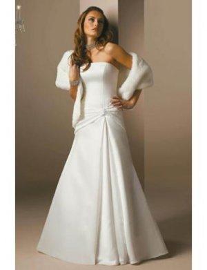 A-Line/Princess Strapless Chapel Train Satin wedding dress (SEW1811)