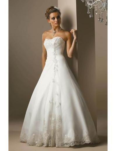 A-Line/Princess Strapless Chapel Train Satin wedding dress for brides new style(WDA1809)