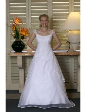 A-line/Princess Square Chapel Train Tulle wedding dress for brides new style(WDA0149)