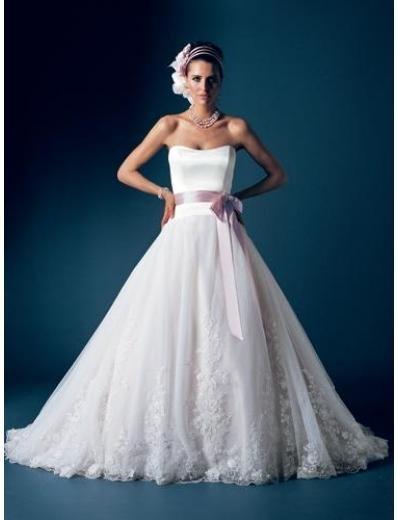 A-Line/Princess Strapless Chapel Train Satin wedding dress for brides new Style(WDA1686)