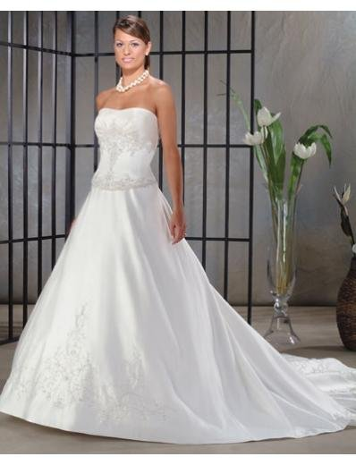 A-Line/Princess Strapless Cathedral Train Satin wedding dress for brides new style(WDA0035)