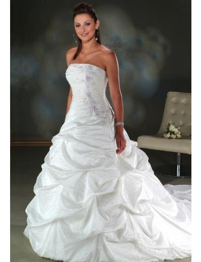 A-line/Princess Strapless Cathedral Train Taffeta wedding dress for brides new style(WDA0070)