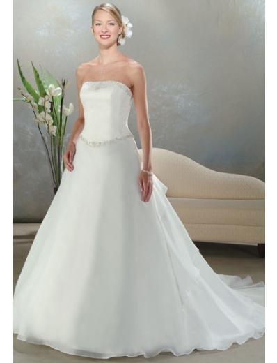 A-Line/Princess Strapless Chiffon Train Satin wedding dress for brides new style(WDA0031)