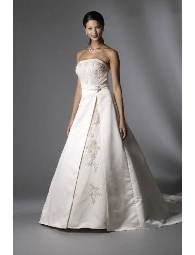 A-Line/Princess Strapless Chapel train Satin wedding dress for brides new style(WDA0088)