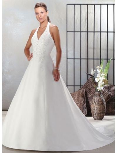 A-Line/Princess Halter Top Train Satin wedding dress for brides new style(WDA0030)