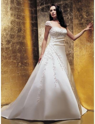 A-Line/Princess Square Chapel train Satin wedding dress for brides new Style(WDA1651)
