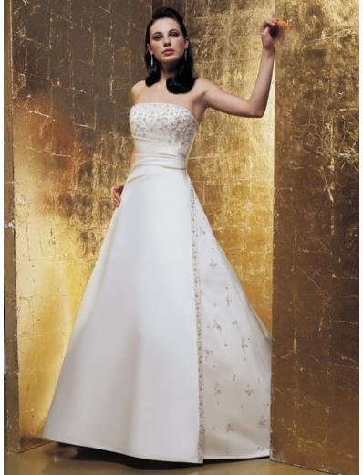 A-Line/Princess Strapless Chapel train Satin wedding dress for brides new Style(WDA1649)