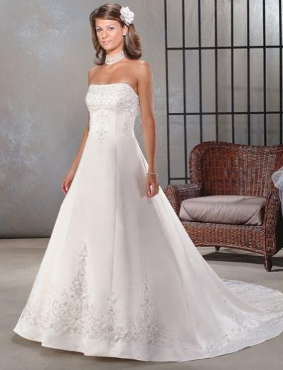 A-Line/Princess Strapless Chapel Train Satin wedding dress for brides new style(WDA0032)